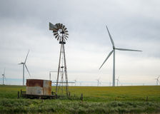 Old and new windmills Royalty Free Stock Photo