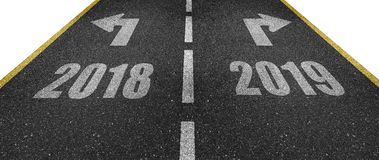 Old and new year road markings. With arrows pointing to the right and to the left vector illustration