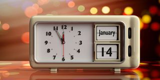 Old new year`s day. January 14th, on a alarm clock, on festive, bokeh background. 3d illustration. Old new year`s day. January 14th, new year day by the Julian vector illustration