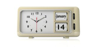 Old new year`s day. January 14th, on a alarm clock, isolated on white background. 3d illustration. Old new year`s day. January 14th, new year day by the Julian vector illustration