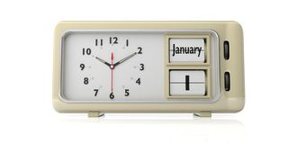 Old new year`s day. January 14th, on a alarm clock, isolated on white background. 3d illustration. Old new year`s day. January 14th, new year day by the Julian royalty free illustration