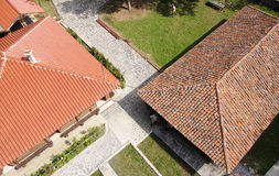 Old and news roof with colorful ceramic tiles Royalty Free Stock Image