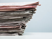Old newspapers. In stack. Copy space Stock Photography