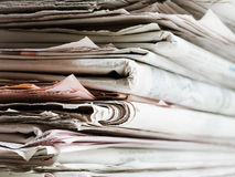 Old newspapers. In stack. Copy space Stock Photo
