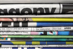 Old newspapers. Pile of old daily newspapers royalty free stock image