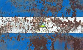 Old Nicaragua grunge background flag.  royalty free stock photo