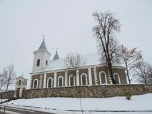 Old beautiful church in winter, Lithuania Royalty Free Stock Images