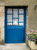 Old nice door blue. Nice door in Britain France blue painted with lace Stock Photos