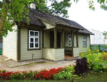 Beautiful green home and flowers , Lithuania royalty free stock photography