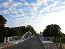 Old beautiful metallic bridge by river Minija, Lithuania stock images