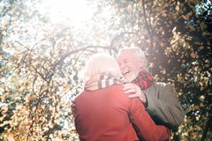 Old nice people having a date together. Always young. Old nice people smiling to each other while having a date together stock image