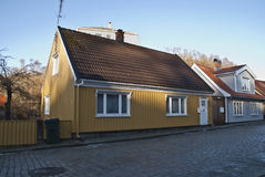 Old nice wooden house in Halden. In Halden, there are many old houses, most of the houses are from after 1826 when a major fire put almost the entire city Royalty Free Stock Images
