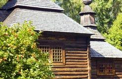 Old nice wooden house in village summer near bush viburnum Stock Image