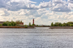 Old Nicholas lighthouse at the island Kronshlot Stock Images