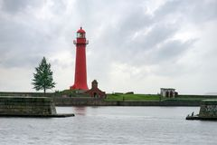 Old Nicholas lighthouse. At the island Kronshlot, Russia Royalty Free Stock Photos