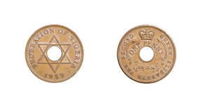 Old nigerian coin Royalty Free Stock Image