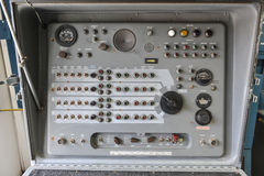 Old Nike Missile Control Panel with dials and lights stock photo