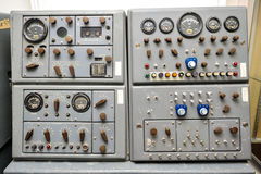 Old Nike Missile Control Panel with dials and lights. Missile control panel with lights dials, switches, knobs and a speaker Stock Photo