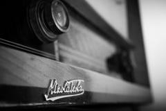 Old Nikola Tesla radio. Old Nikola Tesla wooden radio Royalty Free Stock Photography