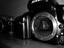 Old nikon. In black and white Royalty Free Stock Image