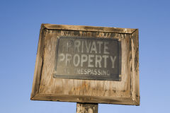 Old no trespassing sign Stock Images