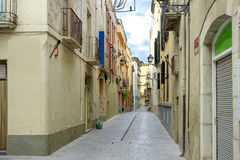 Old and nobady street with blue sky Stock Photo