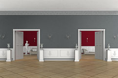 Old noble interior. 3D rendering of an aristocratic interior of an old building Stock Image