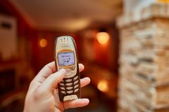 Old Nokia mobile phone. BUDAPEST, HUNGARY - DECEMBER 29, 2017: Nokia 6310i cellphone in used condition. The 6310i was a very popular corporate phone after it`s Stock Photos
