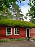 Old Norse wooden house with grass on roof. In Norway Royalty Free Stock Photos