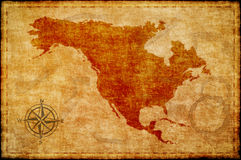 Old north america map on parchment royalty free illustration