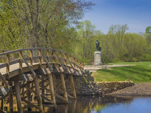 Old North Bridge, Concord, Mass. USA. Old North Bridge, Concord, Mass, site of the first American victory in the Revolutionary War on April 19, 1775, with statue stock photos