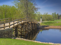 Old North Bridge, Concord, Mass. USA. Old North Bridge, Concord, Mass, site of the first American victory in the Revolutionary War on April 19, 1775, with statue royalty free stock photography