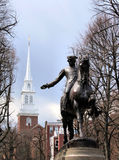 Old North Church. And Paul Revere Statue in Boston stock photos