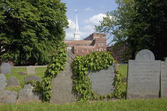 Old North Church cemetery. Old Cemetery in front of the Old North Church which is officially known as Christ Church in the City of Boston, on April 18, 1775, was royalty free stock photo