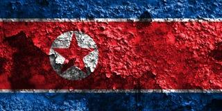 Old North Korea grunge background flag.  Stock Photo