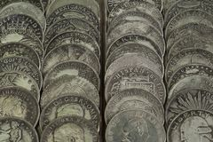 Old Northern American coins lined up stock photography