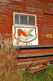Old Northrup-King sign on building. Northrup-King Seed Company was founded in Minneapolis, Minnesota in 1896, and was based there until it was acquired and moved royalty free stock photography