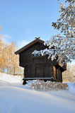Old norwegian house surrounded by snow Royalty Free Stock Images