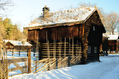 Old Norwegian huts Stock Photography