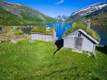 Old norwegian huts Royalty Free Stock Photo