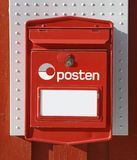 Old norwegian red mailbox stock images
