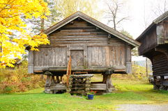 Old norwegian wooden agricultural building Royalty Free Stock Images
