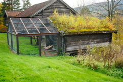 Old norwegian wooden agricultural building for sheep Royalty Free Stock Photography