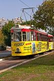 Old nostalgic public transport tram in Antalya Turkey Stock Images