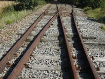 Railway track junction. Old not used railroad junction Royalty Free Stock Photography