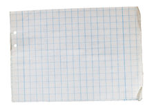 Old note book. Stack of old lined papers from note book. Clipping path included to easy remove object shadow or replace background stock image