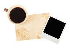 Old note paper with coffee cup Stock Images