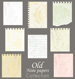 Old note papers. Stock Photos