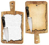 Old Notebook Cutting Boards and Knife Royalty Free Stock Photos