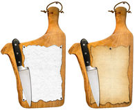 Old Notebook Cutting Boards and Knife Stock Photo